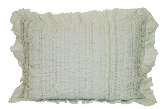 Picture of Almofada INÊS 50x70 c/Folho Verde Chá Alg.Stonewash
