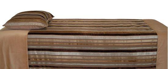 Picture of Edredão 180x260 c/ Almof. Riscas Veludo Bege