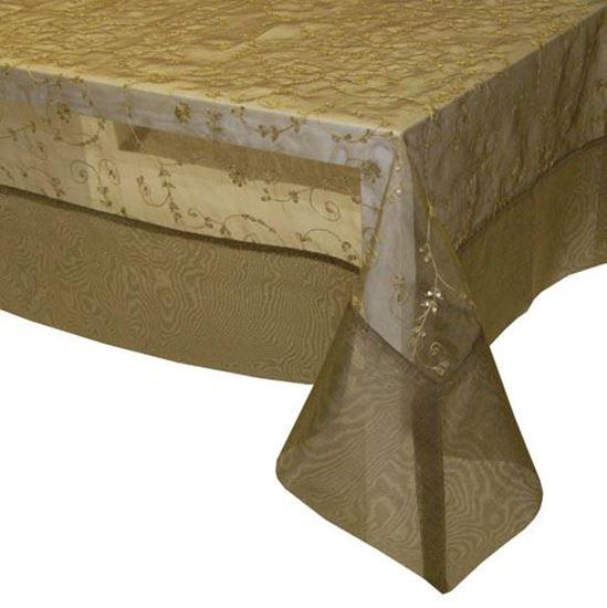Picture of Toalha Mesa 150x150 Khaki Organza Seda
