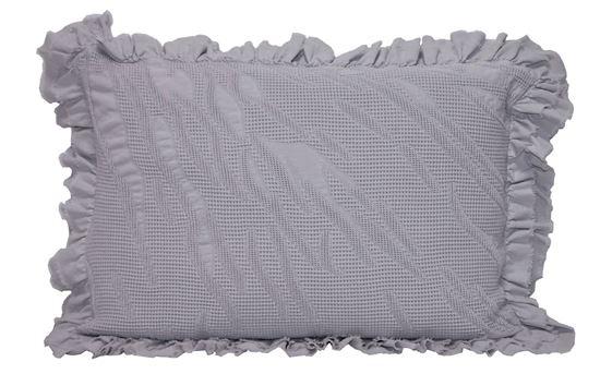Picture of Almofada Flor 50x70 Cinza c/ Folho Duplo Alg.Stone wash