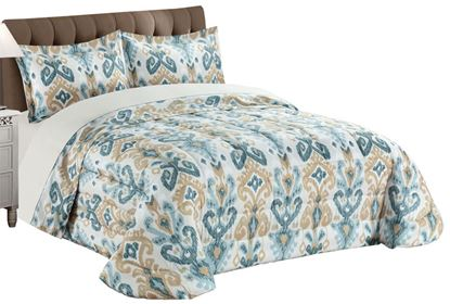 Picture of Edredão 250x260 c/ 2 Almof. Ikat Azul/Bege