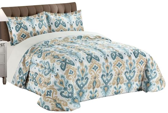 Picture of Edredão 270x260 c/ 2 Almof. Ikat Azul/Bege