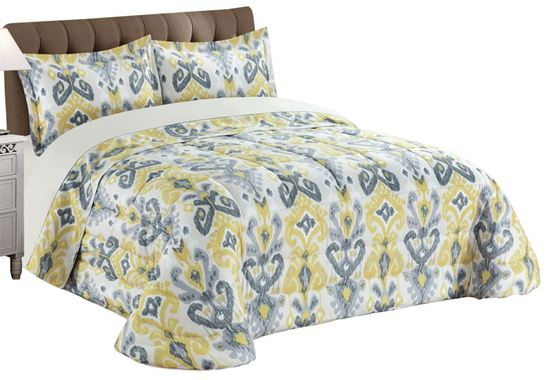 Picture of Edredão 270x260 c/ 2 Almof. Ikat Cinza/Ocre