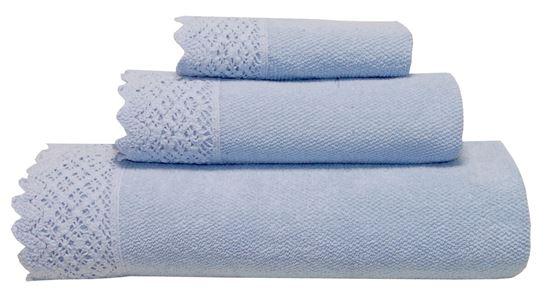 Picture of Jogo Banho RENDA Azul Puro 3Pçs Alg. Stone wash