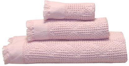 Picture of Jogo Banho WAFFLE Rosa Pastel 3Pcs Alg. Stone wash